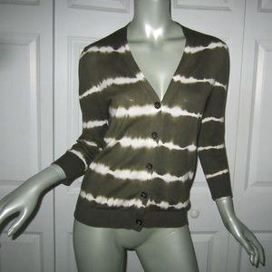 MICHAEL KORS Olive Green/White Tie Dye Sweater PM